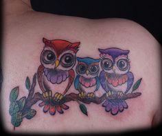 Cute Owls Sitting on a Branch Tattoo by Nasa at Body Language Tattoo #cutetattoo #owl #tattoo #tattoosforgirls