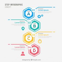 Infographic template with steps Free Vector App Ui Design, Brochure Design, Web Design, Layout Design, Infographic Examples, Infographic Templates, Infographics Design, Diagram Chart, Timeline Design
