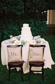 "burlap ""Mr."" and ""Mrs."" pillows 
