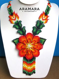 Dimensions Length 18.5 inches (46.99 cms) from point to point Diameter of the flower 4 inches (10.16 cms) The Huichol represent one of the few remaining indigenous cultures left in Mexico. They live in self-imposed isolation, having chosen long ago to make their home high in the mountains of