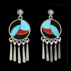 Lovely inlay earrings by Native American (Cochiti, Zuni) Artist Bernadette Eustace, a talented artist and one of our recent best-sellers. Made with natural coral, turquoise, jet, and sterling silver.