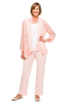 Alfred Dunner Easter Outfit SLUB TEXTURE TWO FOR ONE KNIT TOP PROPORTIONED PANT