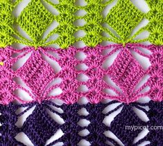Lovely and lacy crochet stitch pattern and tutorial from My Picot