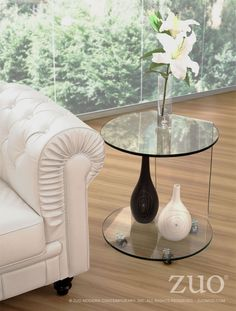 Zuo Modern 404112  Mission Side Table  in Clear Glass