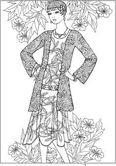 Creative Haven JAZZ AGE FASHIONS Coloring Book by: Ming-Ju Sun Coloring Page 6