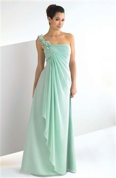 Pastel Mint Floral One-shoulder Ruched Bridesmaid Dress With Overlay