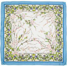 Dolce & Gabbana Blue Floral Print Scarf