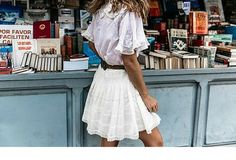 sneakers and pearls, street style, bohemian look with white cotton skirt and top with a leather brown belt wrapped around.png