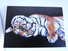 Sleepy Tiger Blank Greeting Card From my Original Acrylic Painting