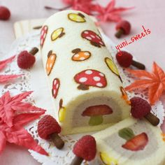 Mushroom deco roll cakefilled with chestnut mousse and mushroom made of strawberry and kiwi ・ ・...