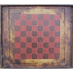19th Century Hand-Painted Checkerboard | From a unique collection of antique and modern game boards at http://www.1stdibs.com/furniture/folk-art/game-boards/