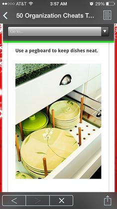 DIY Organization: I wondered how to make those dish drawers easily configurable - of course, pegboard and dowels