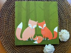 fox family nursery decor woodland creatures in green by lulufroot. $30.00, via Etsy.