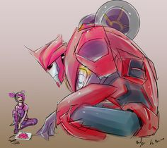 After Knockout joined the autobots Miko thought it would be best to make an Autobot symbol for him.