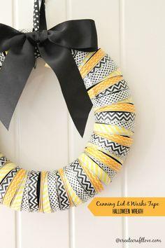 Canning Lid & Washi Tape Halloween Wreath tutorial @createcraftlove.com