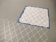 """Stencils painted on the floor! """"Hobby Lobby. They sell stencil sheets you can cut yourself as well"""""""