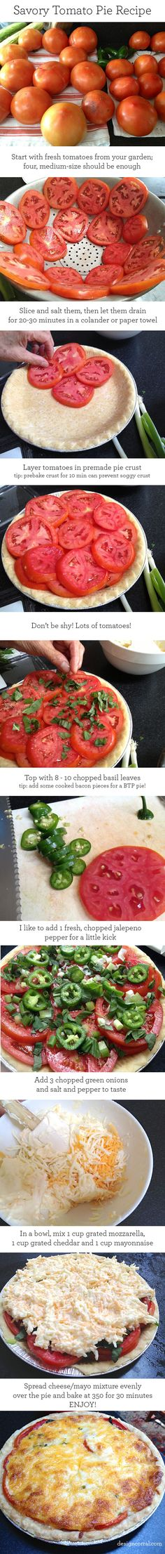 Savory Tomato Pie Recipe: I received this recipe from a true southern belle friend ages ago albeit there was one distinct difference. And it really makes a huge difference,,, switch mozzarella for Parmesan. And extra sharp cheddar adds a layer of depth you'll appreciate along with freshly ground pepper on each tomato layer.