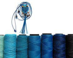Shades of Blue Owl Blue Macrame Owl Necklace Micro by macraMe
