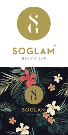 Logo & visuel créé par l'Agence La Cocotte pour l'institut de beauté So Glam. Branding Logo Design Identité Visuelle Beauty center institute Monogram letter SG round shape Feminine smooth curve Creative minimalist Simple Typographie Typo typographic Design Melissa Zambrana Floral flower jungle Gold touch  Graphisme Paris Graphic Design Agence La Cocotte
