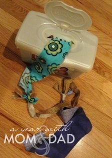 """""""Great no-sew use for my TONS of scrap fabrics I have and my son loved playing with it too (nice quiet activity for car rides!). I didn't have an empty tissue box handy, but I have several old wipes cases I was saving! Perfect!"""""""