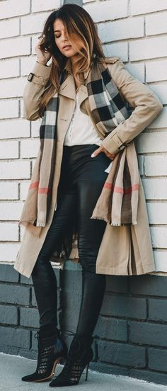Burberry Trench Coat + Plaid Scarf + Black And White                                                                             Source