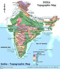 Topographic Map of India for kids. Know topographic features with detail information. Geography Map, Physical Geography, Indian River Map, India World Map, Mountains In India, Indian Desert, World History Classroom, Shillong, United States Geological Survey