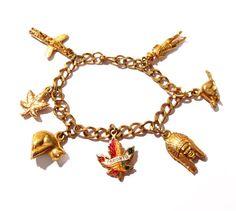 Vintage Gold Charm Bracelet, Canada Souvenir