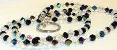 Faceted AB Black Clear Glass Beaded Eyeglass Chain by nonie615, $15.00