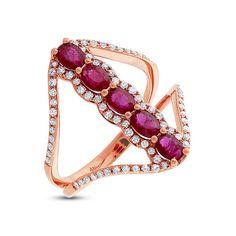 Diamond & 1.08ct Ruby 14k Rose Gold Ring - 0.36ct