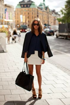 love this look! but with my white knee length pencil skirt instead of the mini.