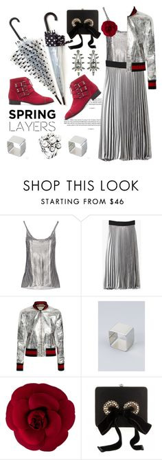 """""""Silver linings"""" by pensivepeacock ❤ liked on Polyvore featuring Paco Rabanne, Retrò, Gucci, Chanel, Alexander McQueen and Elizabeth Cole"""