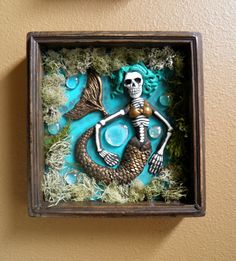Day of the Dead sculpted Mermaid shadow box by abenkim on Etsy Halloween Shadow Box, Mermaid Skeleton, Day Of The Dead Party, All Souls Day, Mexican Folk Art, Mexican Style, Assemblage Art, Our Lady, Box Art