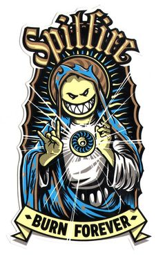 Spitfire Wheels Skateboard Sticker - Virgin Bighead - 17cm high approx skate sk8: Amazon.co.uk: Sports & Outdoors