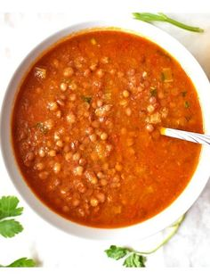 This Vitamin packed lentil tomato soup is made only with fresh ingredients. All made from scratch. And a very nutritious meal. Tomato Soup Recipes, Lentil Recipes, Easy Soup Recipes, Greek Recipes, Chili Recipes, Whole Food Recipes, Healthy Recipes, Vegetarian Recipes, Detox Recipes