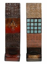 Red Versus Blue Fleur De Lis Candle Wall Sconces, Set of 2 - Candle Holders