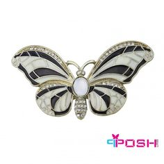 POSH Valentina - Ring - Stretch ring - Gold tone metal with ivory and black tone butterfly - Diameter: (wing tip to wing tip) - Stretch ring will fit most sizes POSH by FERI - Passion for Fashion - Luxury fashion jewelry for the designer in you. Luxury Shop, Gold Rings, Women's Rings, Ladies Boutique, Stones And Crystals, Silver Bracelets, Silver Color, Passion For Fashion, Bracelet Watch