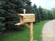 http://www.katoinfo.com/pictures/paragraph/act462_para_log_mailbox_&_post_thum_30045.jpg  Northern White Cedar Mailbox and post.  Very charming.