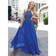 Flowy Halter Neck Beaded Low Back Straps Royal Evening Gown [Jovani 92605 Royal]: found on Polyvore featuring women's fashion, halter top prom dresses, high neck halter top, halter dress, prom dresses and blue halter top