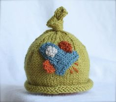 Knit Hat With Rocket Applique
