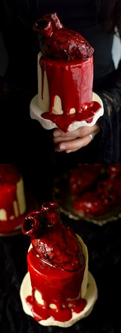 Mini red velvet layer cakes with ermine frosting, realistic bleeding heart cakes and white chocolate ganache 'blood'; perfect for Halloween!