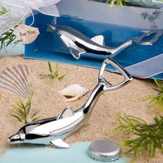 Dolphin Bottle Openers In Diorama Box at WeddingFavors.org