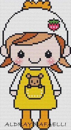 BeyazBegonvil: Kanaviçe Kız Bebek Şablonları Kawaii Cross Stitch, Cross Stitch For Kids, Cross Stitch Baby, Embroidery Patterns, Hand Embroidery, Knitting Patterns, Cross Stitch Designs, Cross Stitch Patterns, Modele Pixel Art