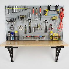 Bench Solution's folding workbench is the only fold-away garage workbench of its kind. The heavy-duty, safe folding garage workbench maximizes workspace and organization in the garage without sacrificing valuable floor space.
