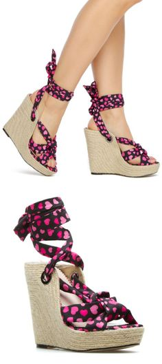 Heart Ankle Tie Wedges ♥