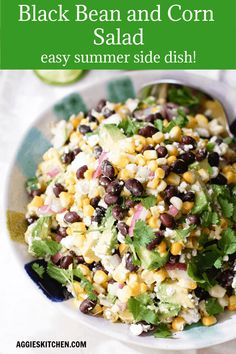 This black bean and corn salad makes a perfect side dish to any summer meal. Ser… This black bean and corn salad makes a perfect side dish to any summer meal. Serve alongside tacos, over grilled fish or on it's own as a vegetarian dish. Corn Recipes, Veggie Recipes, Salad Recipes, Cooking Recipes, Healthy Recipes, Cooking Ribs, Easy Cooking, Recipes Dinner, Summer Side Dishes