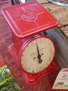 Vintage Red Kitchen Scale by itslynzee