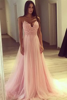 Spaghetti Straps Long A-line Pink Lace Tulle Simple Cheap Princess Prom Dresses Z0455