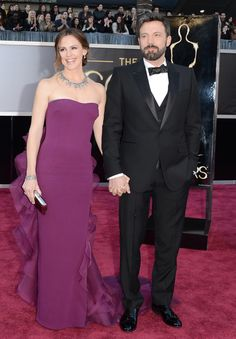 Presenter Jennifer Garner wore a custom Gucci Première bright violet silk crepe strapless column gown. Ben Affleck wore a Gucci Made to Order black satin peak lapel one button three piece Signoria tuxedo with white dress shirt.