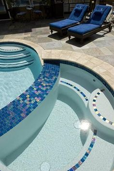 glass and stone tile blue pool - Google Search