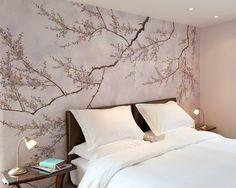 Schlafzimmer Tapeten Bett Kofpteil Kirschenblüten